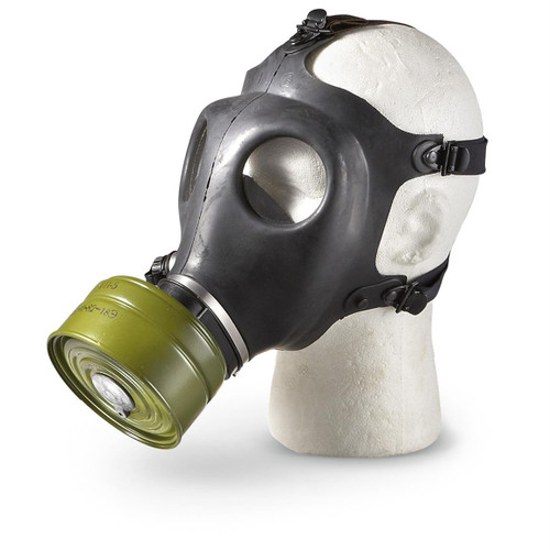 Plexiglass eyes     Rubber mask     Adjustable head straps     Screw-on filter. Filter styles may vary.  Enjoy this great military collectible. This is not intended for emergency preparedness use.