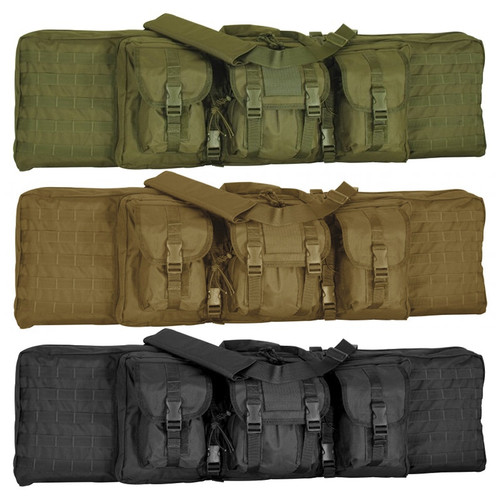 "6"" Fits M-1 Garand, FN-FAL, FN-LAR, Sig, M1-A, M14 and all other tactical weapons not over 46"" in length Also holds two pistols for a total of four weapons  *Now with detachable padded, adjustable shoulder harness.  Added features: *Padded Internal Handgun Pockets *Rugged ballistic pack cloth construction *Heavy duty zippers *Three adjustable outside covered accessory pouches *Wrap and carry handles *Closed cell foam padding *2"" padded interior perimeter lip *Hook n Loop Hold-Down Straps (Both Compartments) *Detachable padded, adjustable shoulder harness *Inside shoulder harness storage pocket *Inside assorted accessory pockets and outside universal Molle attachment straps"