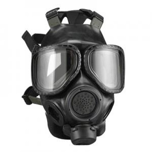 "The U.S. ARMY M40A1 Field Protective Gas Mask has been in use by the military of the United States since 1992 to protect from field concentrations of chemical and biological agents, along with radiological fallout particles. It still remains in U.S. Military service today.  The M40 series was reworked with a better nose cup and a new Butyl protective hood that covers the head and shoulder area. The new hood required a rubber ""second skin"" that covered the entire mask's face piece This new design offered a higher level of protection against penetrating NBC agents and also made it easier to don the protective hood.  The M40A1 Field Protective mask features two voice-mitters, one on either the right or left side, and one in front. A voice-com adapter may be placed over the front voice-mitter to amplify the user's voice. The respirator can be adjusted in the field to accept the filtering canister on either side, so that a weapon may be shouldered."