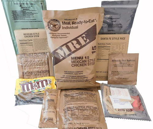 MRE (Meals Ready to Eat), means that all the contents are fully cooked and can be eaten hot or cold. Each MRE has an average of 1,100-1,300 calories, which replicates the calorie count of a complete meal. There is no need to add water to an MRE. Simply open the pouch and enjoy! MREs are perfect for any outdoor use and/or emergency situation. Their aluminum thermo stabilized pouches provide a long shelf stable without refrigeration. Many private entities, law enforcement, hospitals, fire departments, FEMA, Red Cross and government agencies storage depend on MREs as a part of their emergency plan for food supplies.