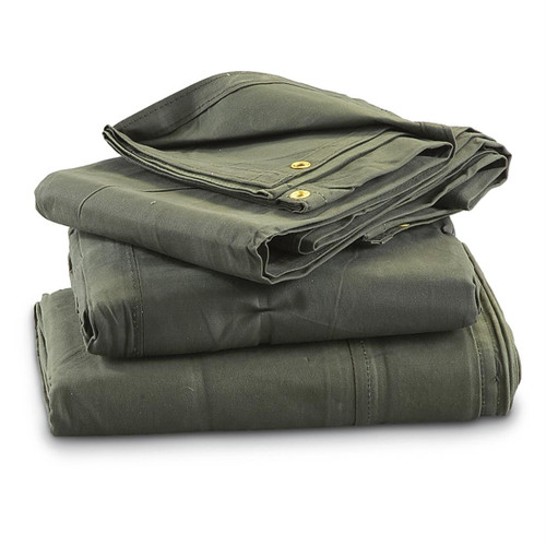 Military grade canvas Tarps. 10 oz. Canvas, OD green, Waterproof tough and durable. Grommets on edges for easy tie down.  Made in U.S.A