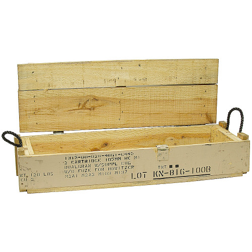 Wooden Ammo Box Used, military surplus wooden ammo crate. Features two hinges and clasp. Rope handles at each end. All boxes are in good condition.