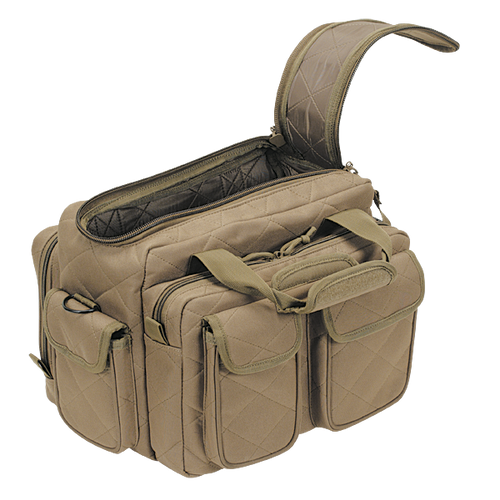 "Heavily padded nylon construction with ""cross-cut"" stitching. Double pull-top zipper with web handle for access to main compartment that has two full length open-top end pockets. One divided side pocket with elastic loops. Outside features two padded, covered end pockets, two full length padded side-zip compartments, one with divided compartment to hold electronics, pencils, guns, cleaning gear, etc. and outside I.D. window. Both of these compartments can hold handguns and ammo and both have lockable zipper pulls. Removable, adjustable, padded shoulder strap, wrap-around carry handle and textured rubber feet round out the features of this hefty range bag."