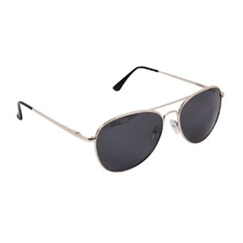 58mm Polarized Sunglasses feature an aviator style metal frame with acrylic lens, and spatula temples. The sunglasses provide a UV 400 protection and come in a stylish black case.