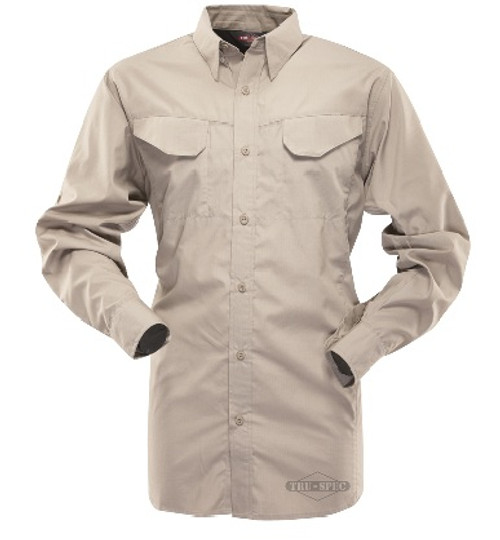 Constructed from lightweight 4.25 oz. 65/35 polyester cotton rip-stop material. Byron button down collar with state of the art hidden button under collar points.Yolked back.Underarm air vents.Pencil/pen pockets on each side of button through front placket.Dress shirt style tail