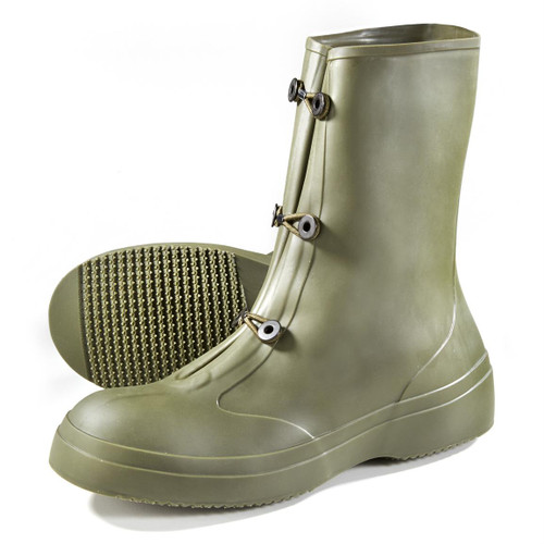 Heavy Olive Drab Vinyl. Slip, Oil & Fuel resistant. Fit perfectly over G.I. combat boots and other shoes/work boots. These GI Overshoes are genuine surplus new in the box!