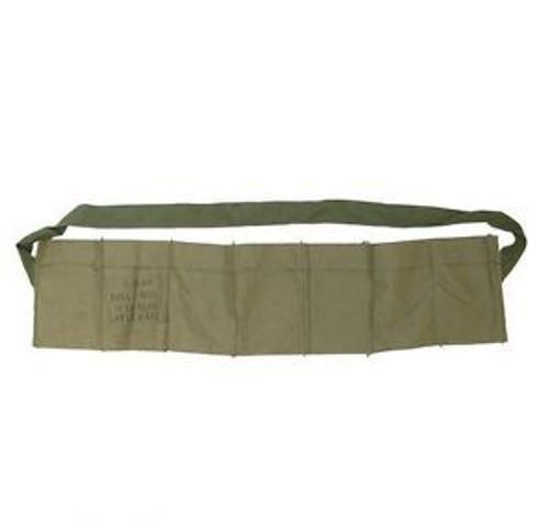 """G.I. 7 Pocket Bandoleer. Original olive drab cotton bandolier for 5.56/.223 stripper clips.  measures 28"""" long x 6-1/4"""" high."""