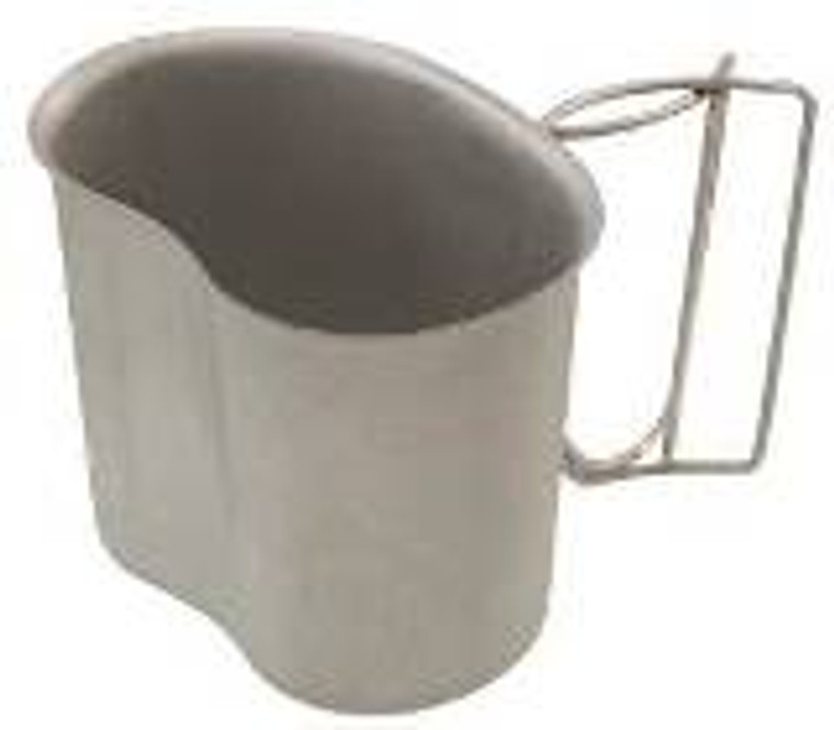 GI STAINLESS STEEL CANTEEN CUP Boil water for coffee or tea, heat MRE entrees, have a hot shave; the canteen cup has had endless field uses since it was designed way, way back. Nestles in the LC-2 Canteen Cover and holds the issue Flexible 1 Qt Canteen. High grade stainless steel with folding wire handles.