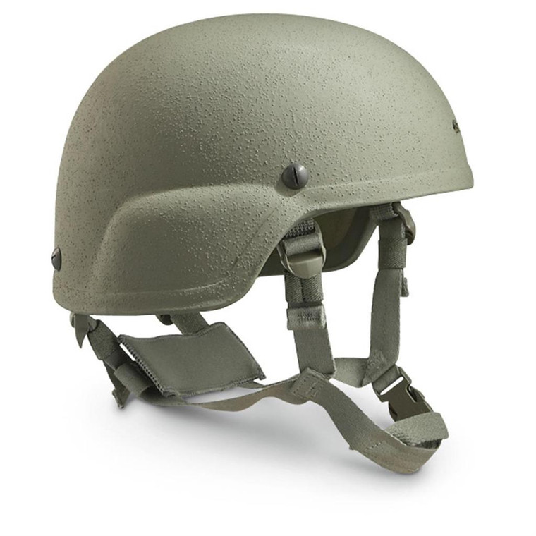 All helmets are used and in good condition.  Lighter than the previous PASGT infantry helmet, the ACH features a pre-drilled Night Vision Goggle (NVG) bracket hole. The helmet shell trim also eliminates the beak and has a higher side trim than the PASGT. The helmet also includes an improved 4-Point Retention and Pad Suspension System, which attaches at four points to the shell with ballistic resistant hardware. Adjustment slides are located on both the front and rear of the retention, allowing adjustment for proper fit and stability.