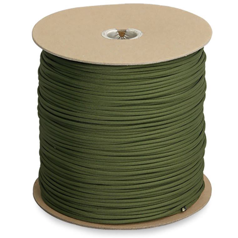 """GENUINE ISSUE 1/8"""" 550 cord Available in 1200 ft. spool. (OD Green only) Made in the USA"""