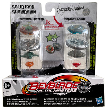 HASBRO Solid Iron Showdown Beyblade 2-Pack w/ Thermal Lacerta & Thunder Leone