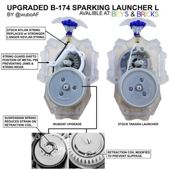 Custom Upgraded TAKARA TOMY Beyblade Burst Long BeyLauncher L String Sparking Launcher B-174