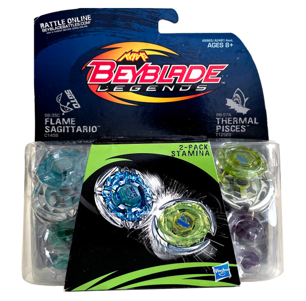 HASBRO Legends Stamina 2-Pack w/ Flame Sagittario & Thermal Pisces Beyblades BB-35C BB-57A