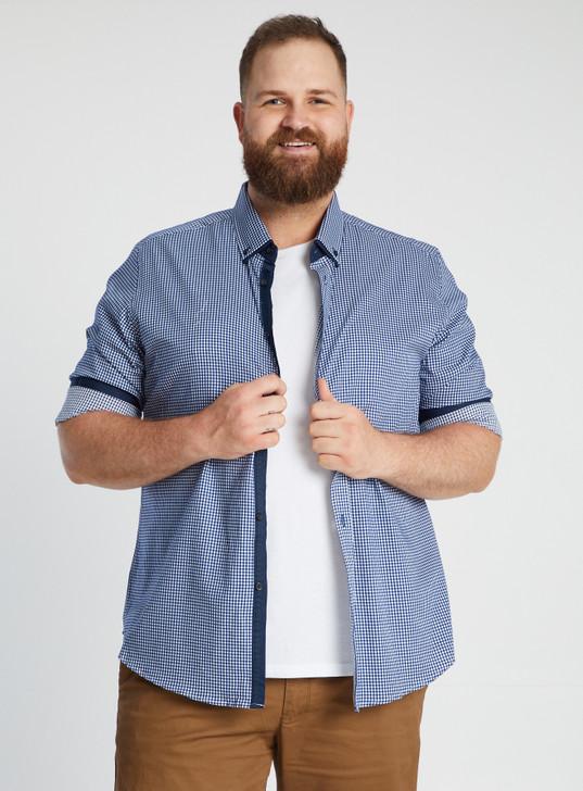 Johnny Bigg Navy Donovan Check Shirt front crop- Navy