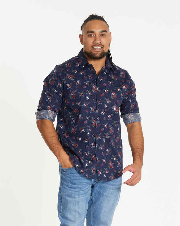 Johnny Bigg Gable Floral Stretch Shirt front crop - Navy