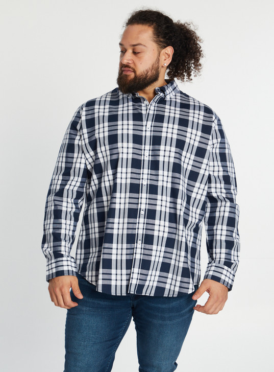 Johnny Bigg Chazz Textured Check Shirt front crop - Blue