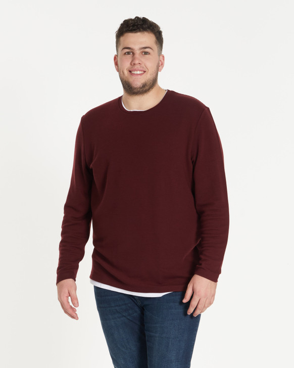 Johnny Bigg Textured 2For Long Sleeve Top front crop - Burgundy
