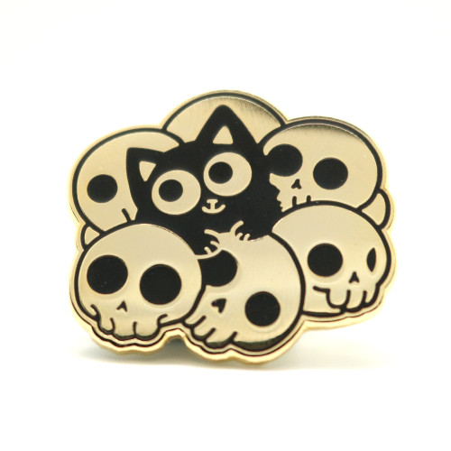 Skull Cat Gold Enamel Pin