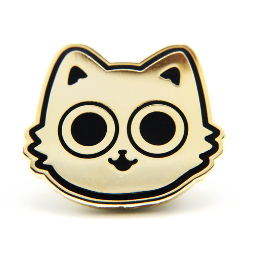Gold Toby Cat Enamel Pin
