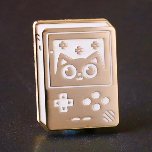 Super Videogame Cat Gold and White Enamel Pin