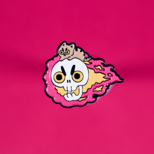 Skull Rider Enamel Pin - Red