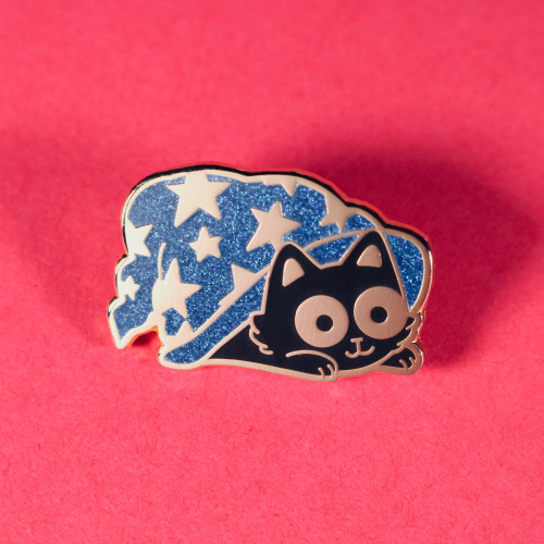 Wizard Hat Cat Enamel Pin (Blue Glitter)