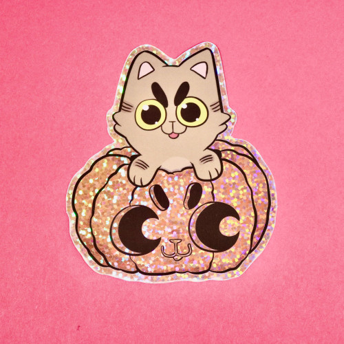 Pumpkin Cat Holographic Sticker
