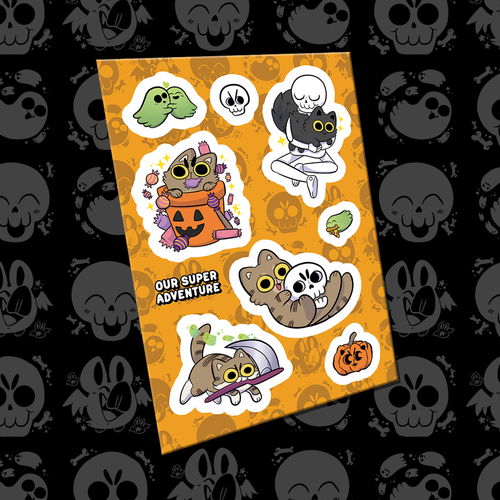 Spooky Cats A6 Sticker Sheet