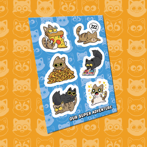 Our Super Adventure Cats A6 Sticker Sheet