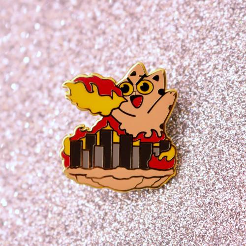 Cat-Zilla Kaiju Enamel Pin