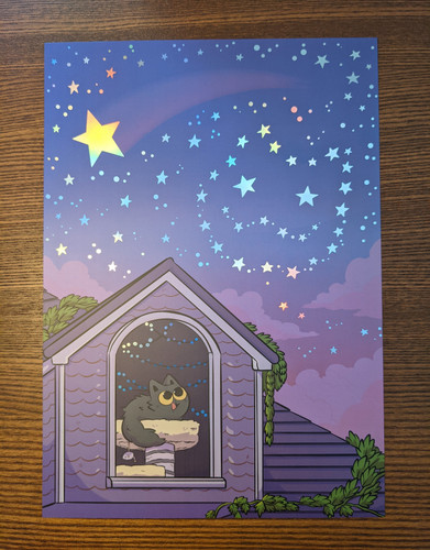 Stargazing A4 Print (with Rainbow Foil)