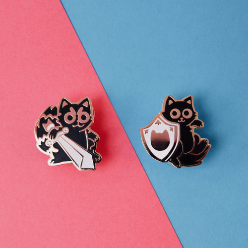 Sword and Shield Cats (Two Enamel Pin Set)