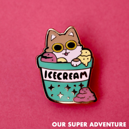 Ice Cream Cat Enamel Pin