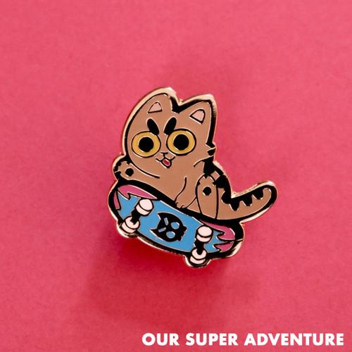 Skateboard Cat Enamel Pin