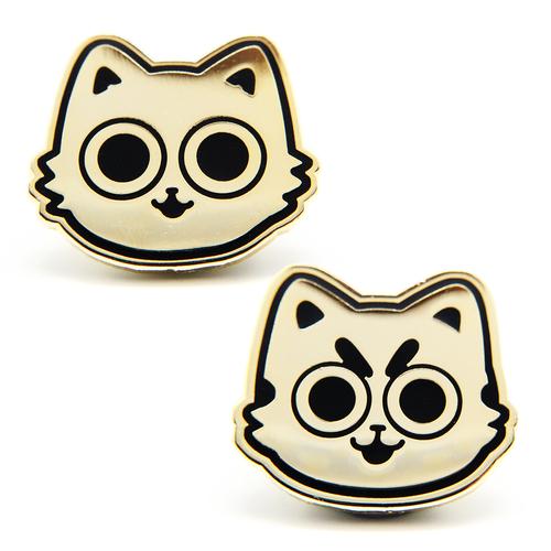 Golden Cats (Two Enamel Pin Set)