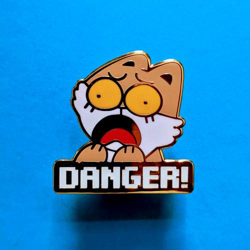 DANGER CAT Enamel Pin (Glows in the dark!)