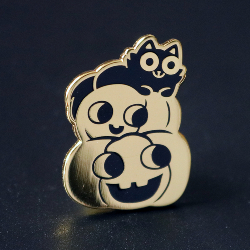 Pumpkin Stack Cat Enamel Pin