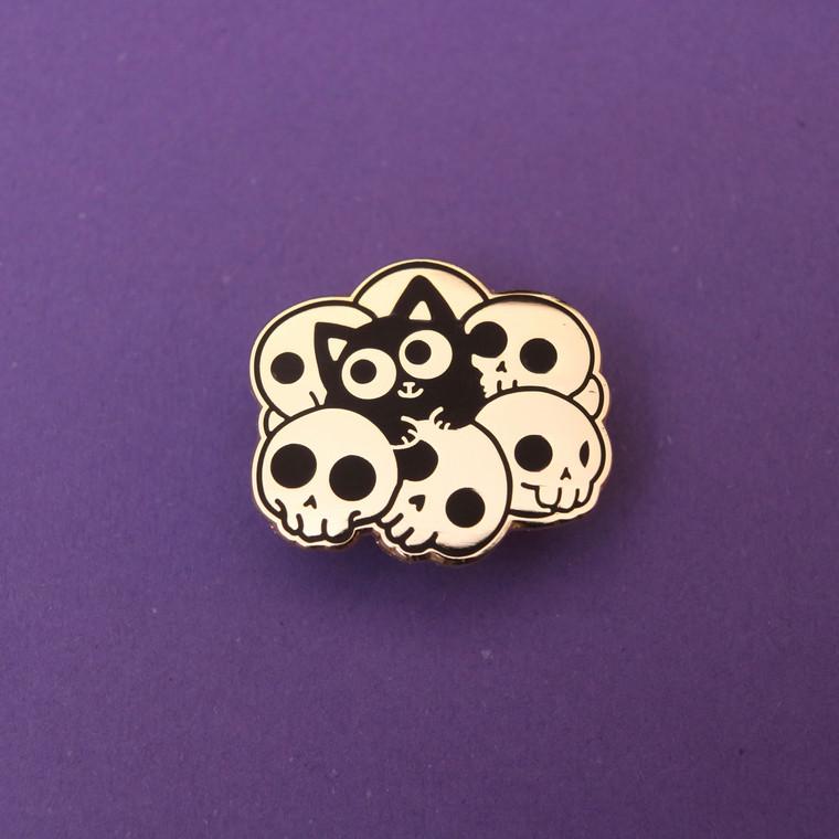 Skull Cat Gold Enamel Pin