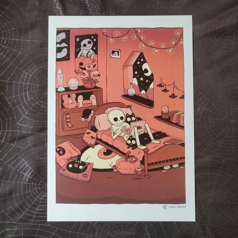 Skeleton Bedroom A3 Print