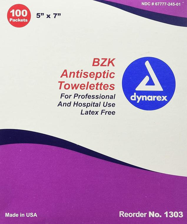 "Dynarex 1303 - BZK Antiseptic Towelettes, 5"" x 7"" - Case of 10"