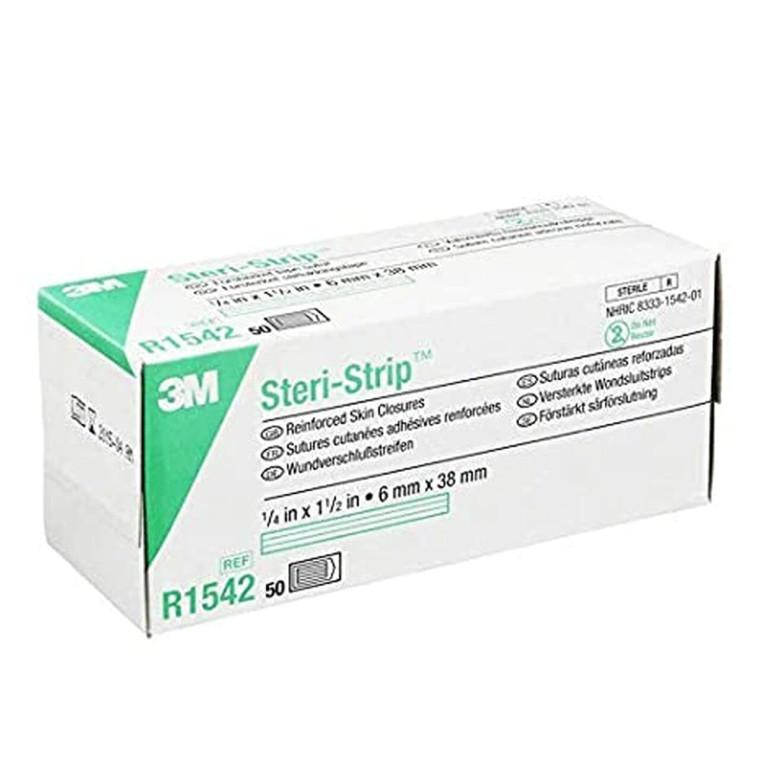 "3M Steri-Strip R1542 - Reinforced Adhesive Skin Closures, 1/4"" x 1 1/2"" - Box of 50"