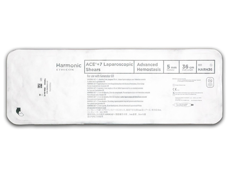 Ethicon HARH36 - Harmonic Ace+ 7 Shears with Advanced Hemostasis: 5mm x 36cm, Curved Tip -
