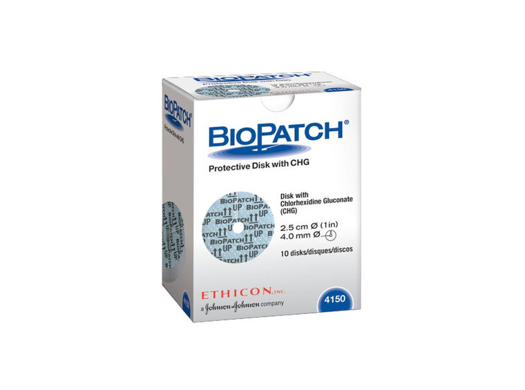 Ethicon 4150 - BIOPATCH® Protective Disk with CHG (1.0in) 4.0mm Central Hole - Box of 10