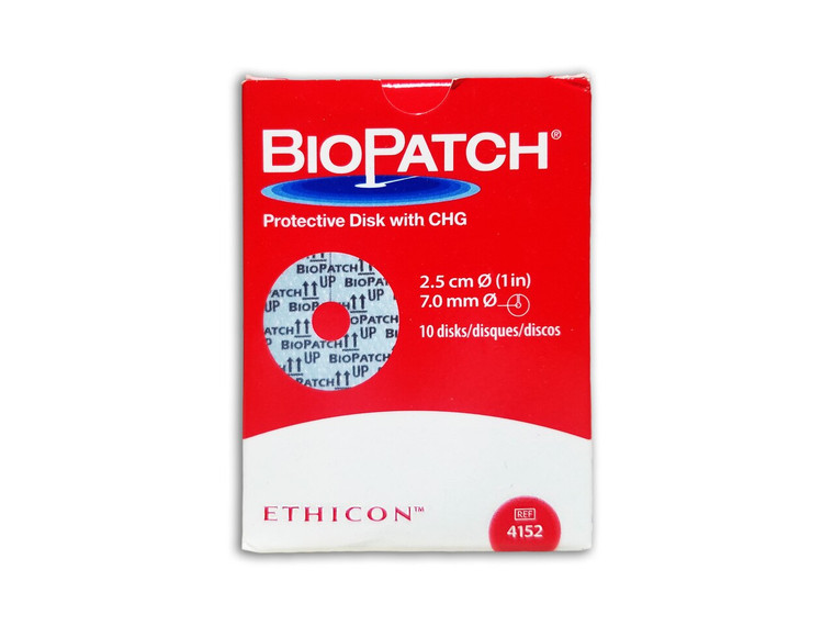 Ethicon 4152 - BIOPATCH® Protective Disk with CHG (1.0in) 7.0mm Central Hole - Box of 10