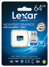 Lexar 64GB High-Performance microSDXC 633x Class 10 UHS-I Memory Card with USB 3.0 Reader