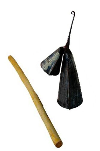 Agogo Cow Bell from Ghana Large Gankogui Double Bell with Stick Large Size
