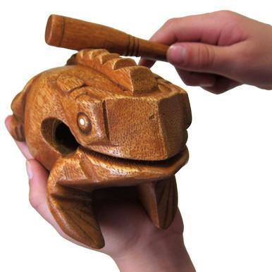 GOMYIE Percussion Instruments Wood Mini Frog Guiro Rasp Musical Instrument Tone Block