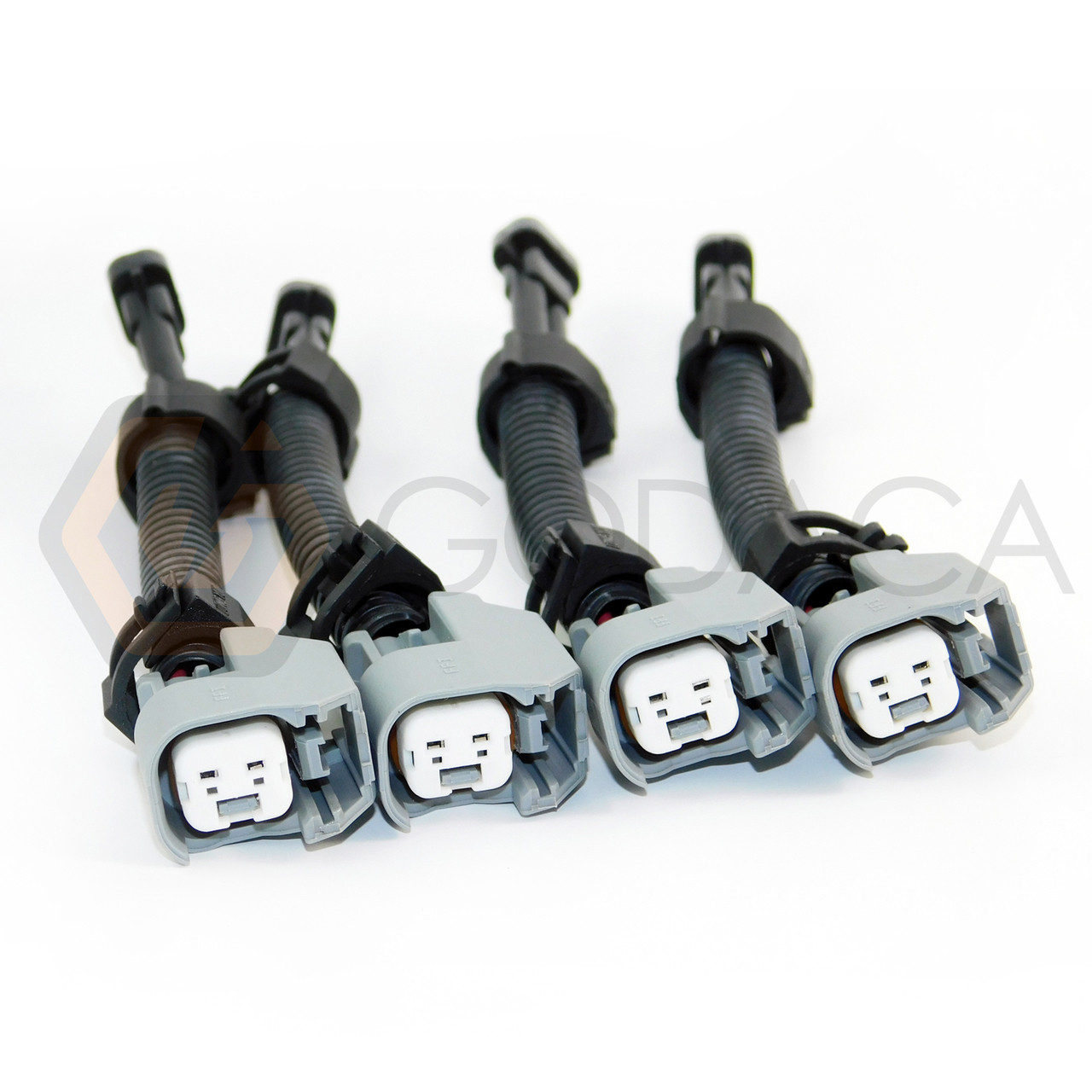 4x wiring harness adapter ev14 ev6 to male delphi mfp fuel injector for gm  - godaca, llc