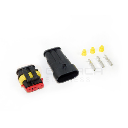 Female & Male Connector Plug 3-way 3 Pin Waterproof Electrical w/out wire