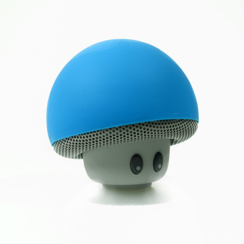 Fashion Cute Blue Mushroom Head Mini Suction Speaker Bluetooth Handsfree mic